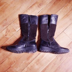 Geox Black Leather Waterproof Tall Boots
